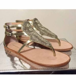 🆕 Sigerson Morrison Gold Strappy Flats Sandals